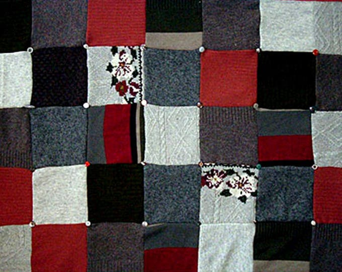 "My ""Silver Rose"" Wool Sweater Quilt — I can make one similar for you!"