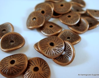 25 Spacer Disk Bead Antique Copper Flat Wavy 9.5x8.5mm 1.5mm hole LF/CF - 25 pc - M7038-AC25