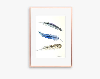 Feather Painting Original Watercolor Painting Feather Wall Art Feather Watercolor Feather Wall Decor Feather Art