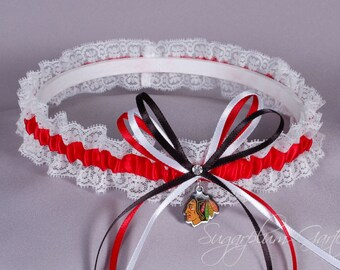 Chicago Blackhawks Lace Wedding Garter - Ready to Ship