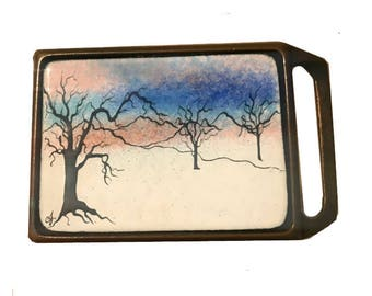 Beautiful Vintage Hand Painted Ceramic Brass Belt Buckle - Winter Scene Landscape - Tree - Redwood Snow Sunset Sunrise Blue Pink - Gift Idea