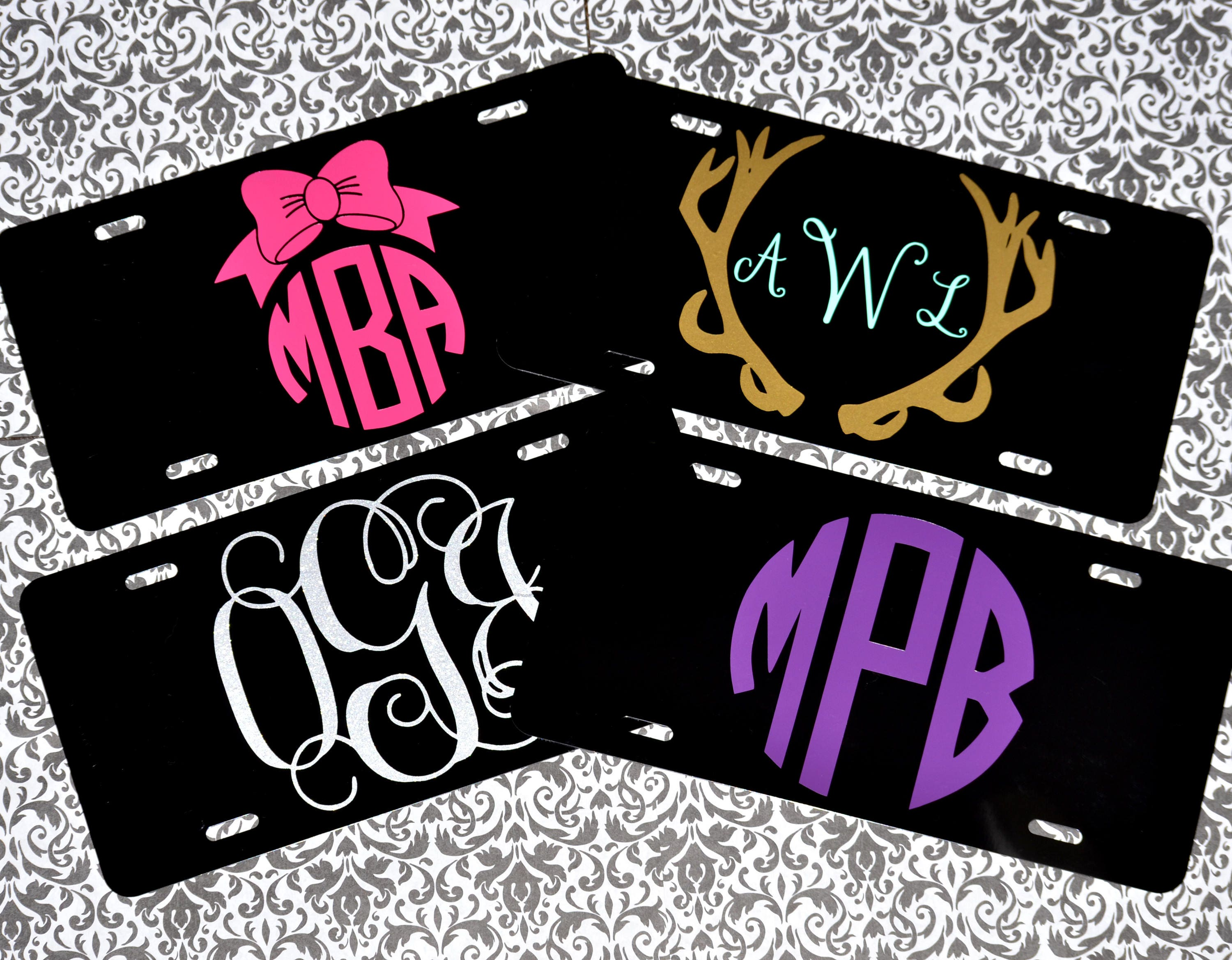 Car Tags: Custom Car Tags Monogrammed Front License Plates