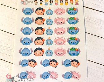 Tsum Tsum Lilo and Stitch Planner Stickers ~ Disney Inspired  | Life Planner | EC | Erin Condren | Limelife | Inkwell | Plum | Decorative