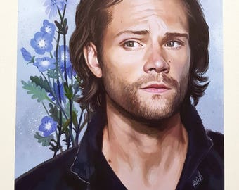 Sam Winchester. Flowers A4 poster.