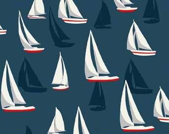 Sea View Cotton Fabric  Makower Sailboats on Blue