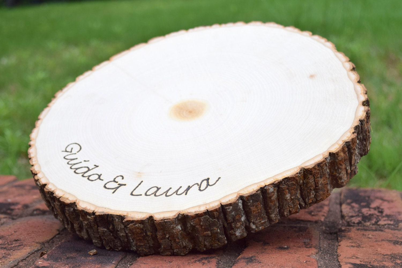 Rustic Wedding Centerpiece Round Tree Bark Slice Rustic