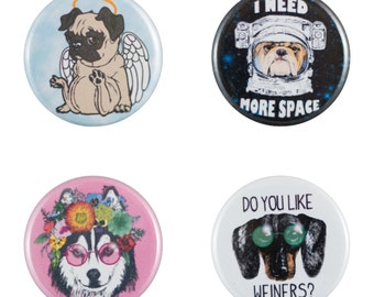 """Funny Dogs 8 Pack of 1.25"""" Button Pins"""
