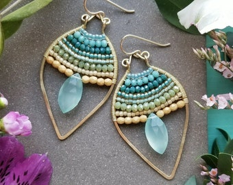 Beaded Chalcedony Petal Earrings in Gold >> Aqua Green Chalcedony Gems w/Turquoise, Aqua, Green, and Yellow Crystals - Gemstone, Boho Luxe