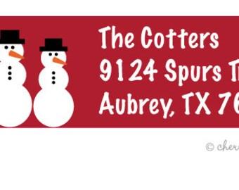 Snowmen address labels - set of 75