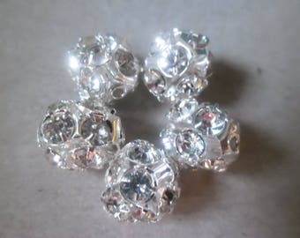 1 x Pearl spacer 9 x 8 mm silver white rhinestone