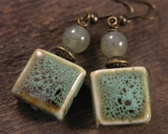 Ocean Soocho Jade and green porcelain flat square beads handmade antique brass earrings