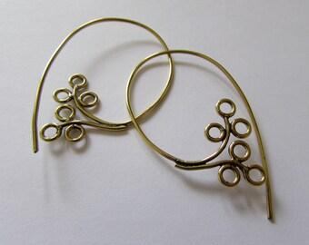Flower Tribal Spiral Hooks Earrings Tribal Earrings Boho Festival Jewellery Free UK Delivery Gift Boxed BG9
