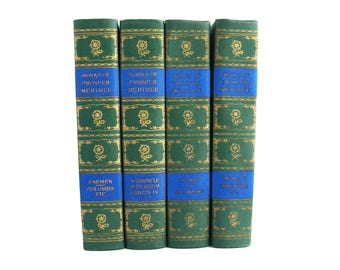 Works of Prosper Merimee - vintage four volume set in matched bindings from 1905 - Free US Shipping