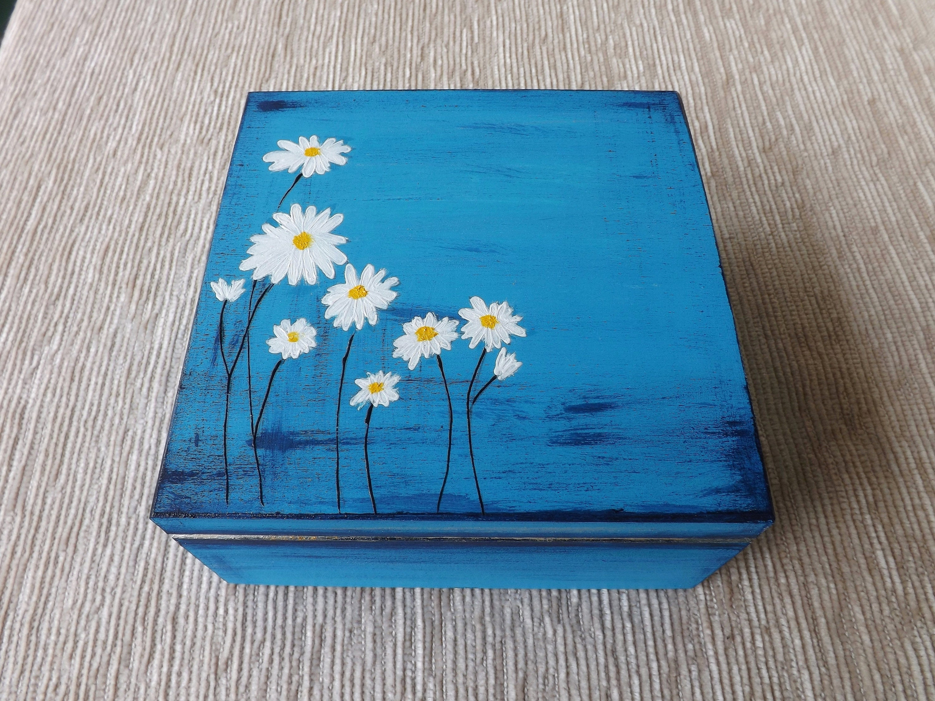 Wood tea box with Ox-Eye Daisy handpainted personalized gift