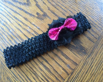 Black Flower and Glitter Bow Baby Headhand