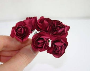 12 Wine Red Paper Roses Dark Red Paper Flowers Artificial Flowers Fake  Flowers Decorative Flowers Craft