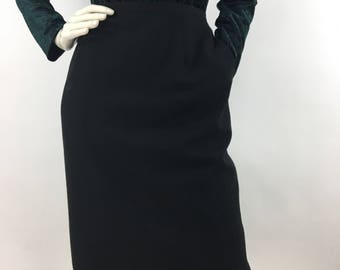 Vintage Holt Renfrew black wool skirt