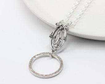 Christian Lanyard with Mary. Silver Religious Lanyard. Christian Glasses Chain. Eyeglass Necklace. Catholic Eyeglass Holder. Jesus Lanyard.