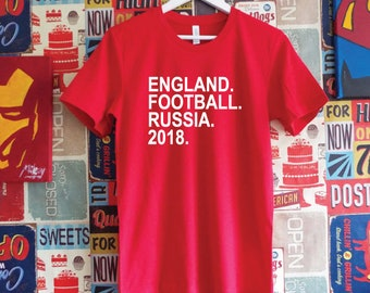 England Football Russia 2018 Shirt. England Football World Cup Support Shirt. English Football Shirt.