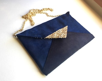 Clutch in Navy Blue evening black and gold glitter - clutch bag