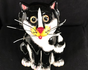 Whimsical KITTY Cat Coin Bank w/ Wire Whiskers Ceramic Black BELLA CASA by Ganz