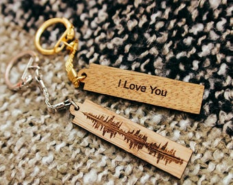 Sound Wave Keychain, Wooden Keychain, Keychain, Couples Gift, Key Chains For Women, Key Chains For Men, Key Ring, Keyfob, Wooden gift