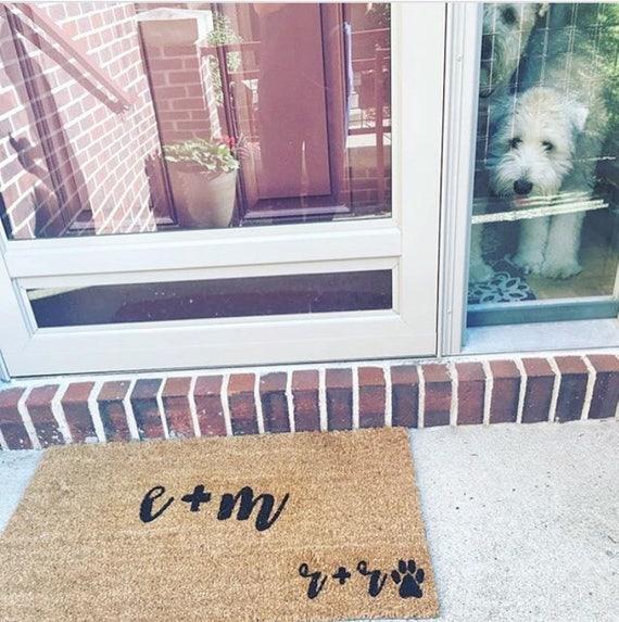 Custom Dog Door Mat, Couple Wedding Gift, Paw Print Door Mat, Funny Dog Door  Mat, Custom Initial Mat, Dog Door Mat Gift, Engagement Gift