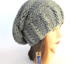 Slouchy beanie hat for women women's slouch hat winter accessory tweed fleck gray tweed hat made in Ireland gift for her Irish tweed hat