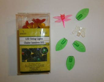 Fairy Garden Lights 10 LED Flowers Leafs Butterfly Pink Dragonfly Set Battery Power Operated 2AA See Description