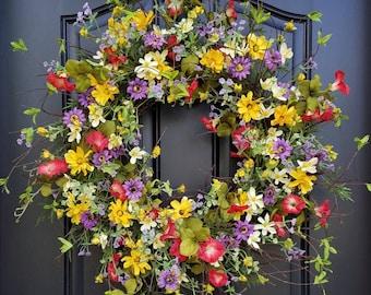 Spring Wreath, Easter Wreath, Front Door Wreaths, Spring Wreaths for Front Door, Yellow Daisy Wreath, Red Petunias, Purple Flower Wreaths