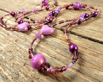 Long Necklace beaded, Long necklace, beaded necklace, gift for her, boho necklace, purple necklace, long beaded necklace, beaded jewelry