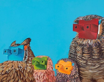 Digital Print of Original Painting of 4 Owls with Stereo Viewers Acrylic on Canvas