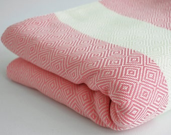 NEW / SALE 30 OFF/ Diamond Blanket / Pink / Double Size / Bedcover, Beach blanket, Sofa throw, Traditional, Tablecloth