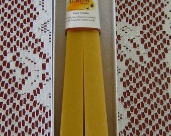 Natural Handmade Beeswax Candles - obelisk / pyramid taper pair