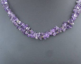 "2-Strand Amethyst Chip Necklace 21.5"" with Matching Earrings"
