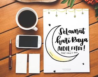 Selamat Hari Raya Aidilfitri Greeting Card, Hari Raya Aidilfitri Printables, Calligraphy Greeting Card, Handlettered Printables