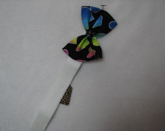 Ready to Ship Bright Colored Hearts on Black Print Dog Bow Tie, Dog Collar, Pet Bow Tie, Cat Bow Tie, Rabbit Bow Tie, Pig Bow Tie