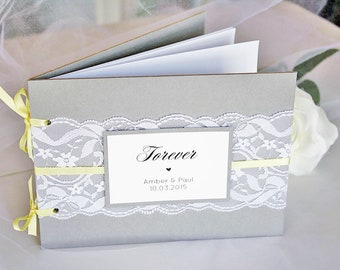 Grey and Yellow Lace Wedding Guest Book, Grey Yellow Guest Book, Grey Yellow Wedding, Grey Yellow Lace Wedding, Wedding Guest Book