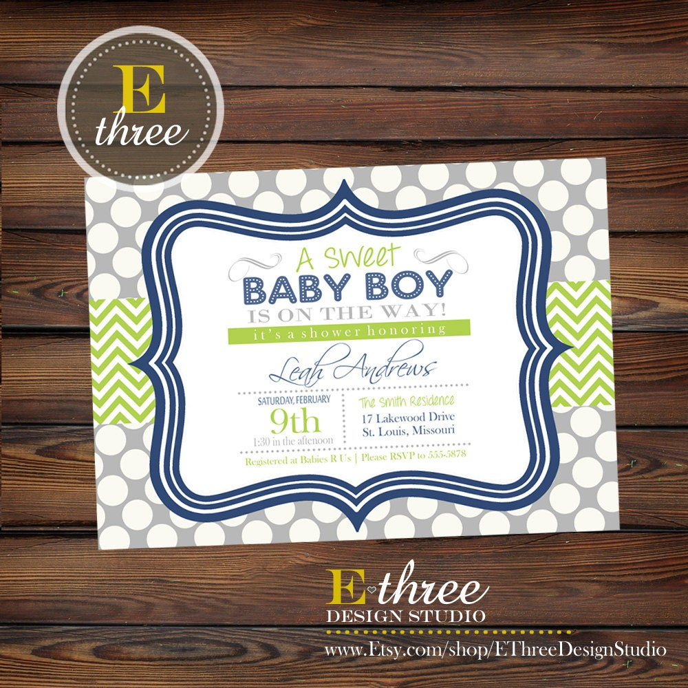 Navy Blue and Green Boy\'s Baby Shower Invitation Baby