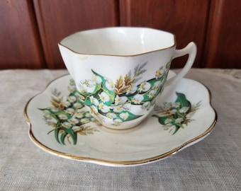 Vintage Lilly of the Valley, Bone China, Tea Cup and Saucer, England