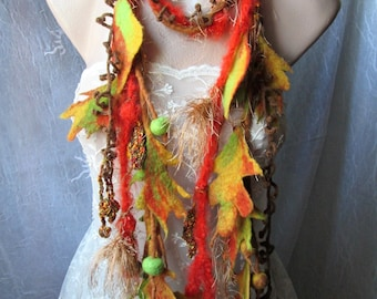 autumnal scarflette,felted leaves,scarf for fall,Fall,unique art to weat,wearable art,artistic scarf ,felted scarf