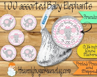 100 Chocolate kiss stickers Elephant baby girl shower stickers Elephant Chocolate Stickers Baby Elephant Kisses Labels Thank you Party Favor