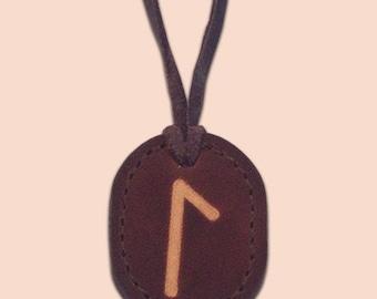 Laguz - The Water Rune - Asatru Jewelry - Leather Rune Pendant - Rune Amulet Necklace - Viking Rune Necklace