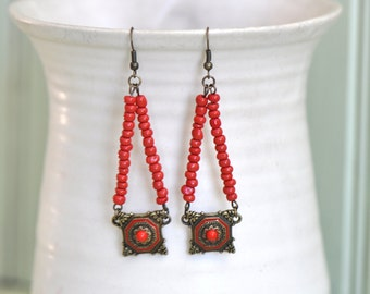 Boho Earrings- Red Earrings- Long Earrings-  Hippie Earrings- Boho Jewelry- Gift for Her- Hippie Jewelry