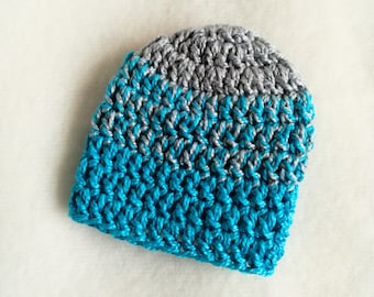 Slouchy Barbie doll beanie. Blue and gray hat.