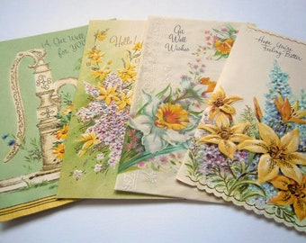 Vintage Glittered Yellow Flowers Floral Greeting Cards Lot