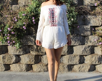 White Cotton Jumpsuit with Hand-embroidery