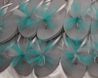 SALE!! Custom WEDDING Flip Flops, BRIDESMAID Flip Flops, Simple & Elegant Tulle Flip Flops, Bridesmaid Gift, Bridal Gift, Wedding