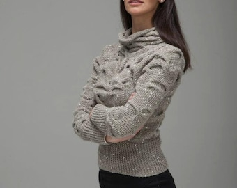 AQUA 02 - Long Sleeves Sweater -  Handknit Unique Customizable