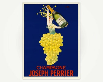 Champagne Joseph Perrier Poster Print - French Champagne Advertising Poster Art